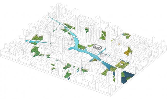 Аксонометрия. Прототип «Идеального города».  2017 г. Предоставлено Kleinewelt Architekten
