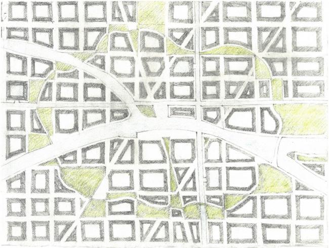 Первый эскиз генерального плана «Идеального города». Николай Переслегин. 2017 г. Предоставлено Kleinewelt Architekten