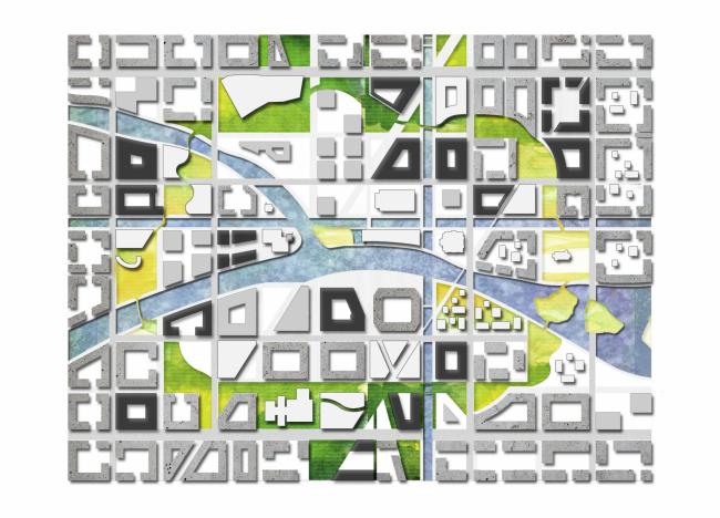 Фрагмент генерального плана. Прототип «Идеального города». 2017 г. Предоставлено Kleinewelt Architekten