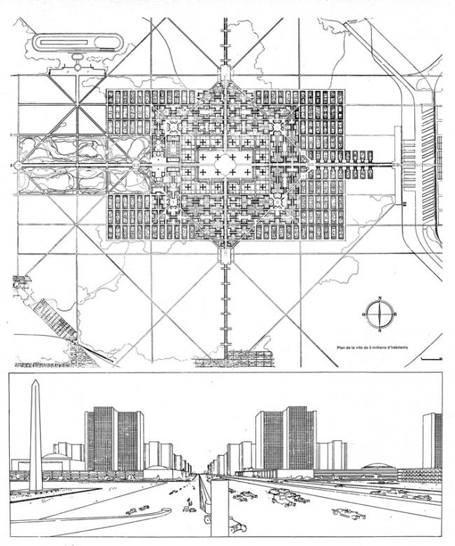 План и перспектива «Лучезарного города» Ле Корбюзье. 1931 г. Предоставлено Kleinewelt Architekten
