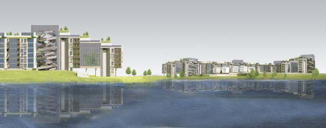 Жилой дом на набережной реки Исеть © Архитекторы: Е.А. Хмелёва,  Т.М. Матвеева,  М.Г. Матвеев