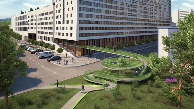 ЖК «4 сезона», переходной мост из двора в парк. Проект. 3 очередь строительства © АБ «Проспект»