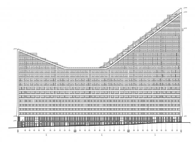 ЖК «4 сезона», фасад по ул. Блюхера, принципиальное решение © АБ «Проспект»