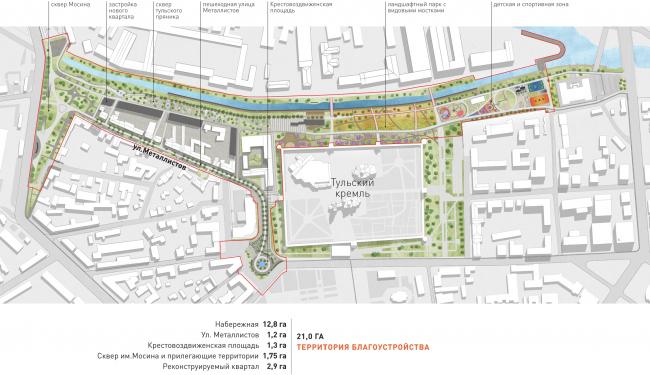 Проект реконструкции Тульской набережной. План благоустройства © WOWHAUS