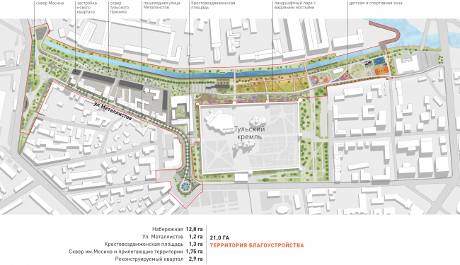 The project of renovating the Tula embankment. The landscaping plan © WOWHAUS