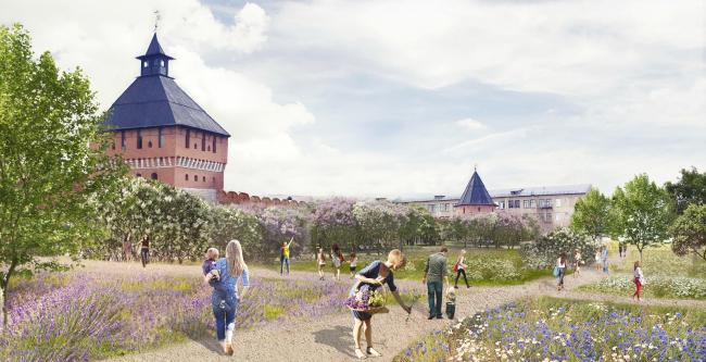 Проект реконструкции Тульской набережной. Сиреневый сад © WOWHAUS