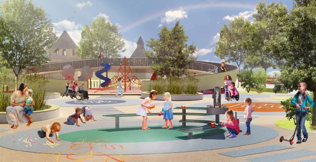 Игровая площадка для детей до 7 лет. Проект реконструкции Тульской набережной  © WOWHAUS