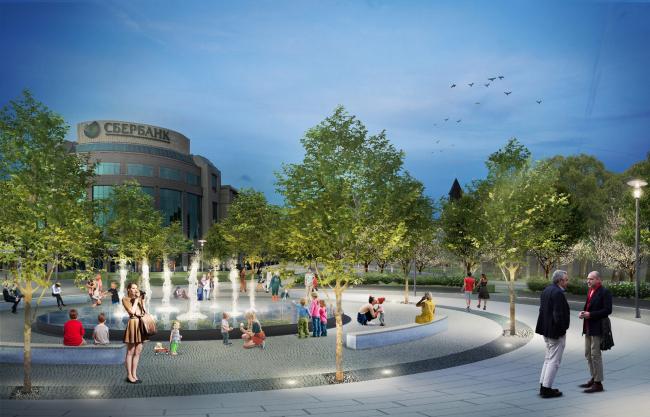 Проект реконструкции Тульской набережной. Крестовоздвиженская площадь © WOWHAUS