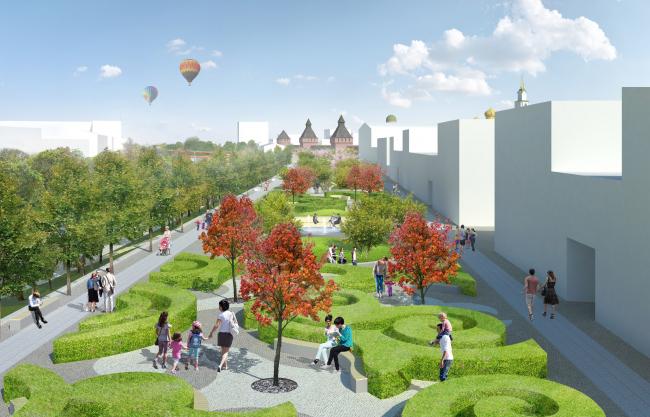 Проект реконструкции Тульской набережной. Сквер «Тульский пряник» © WOWHAUS