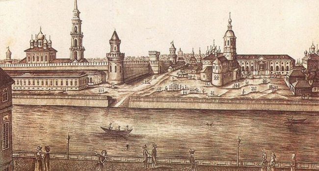 The Kazanskaya Embankment. View of the Kremlin from the Small Arms Factory. Archive materials / provided by WOWHAUS
