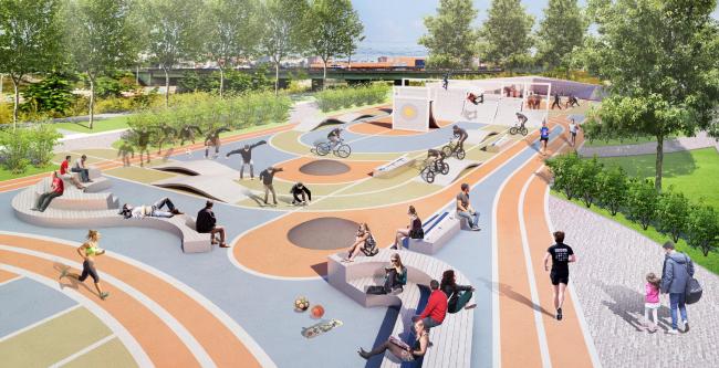 Спортивная зона. Набережная. Проект реконструкции Тульской набережной © WOWHAUS