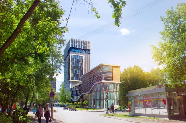 Гостинично-административный комплекс на ул. Бажова © Д.Г. Шурыгин, А.В. Коротаев