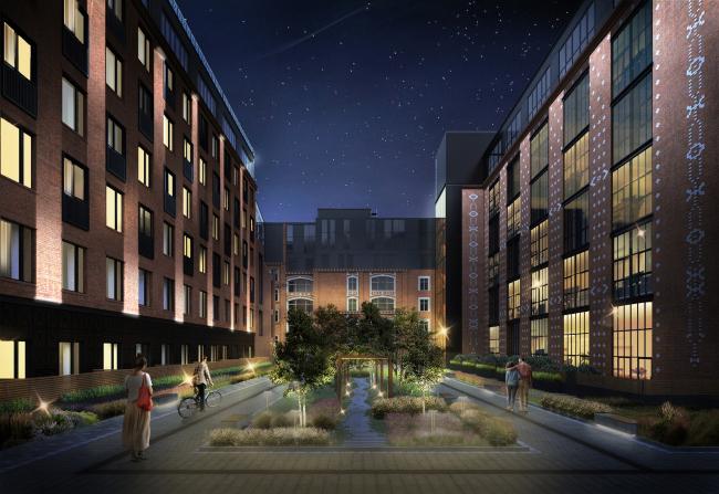 Комплекс апартаментов «Большевик», благоустройство внутреннего двора © IND Architects
