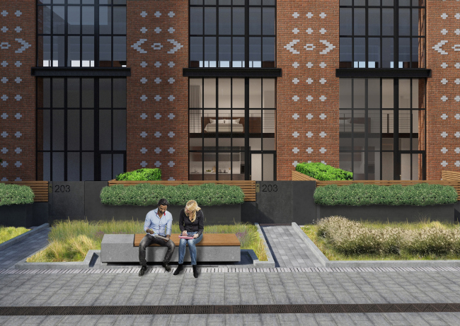 Комплекс апартаментов «Большевик», фрагмент благоустройства внутреннего двора © IND Architects