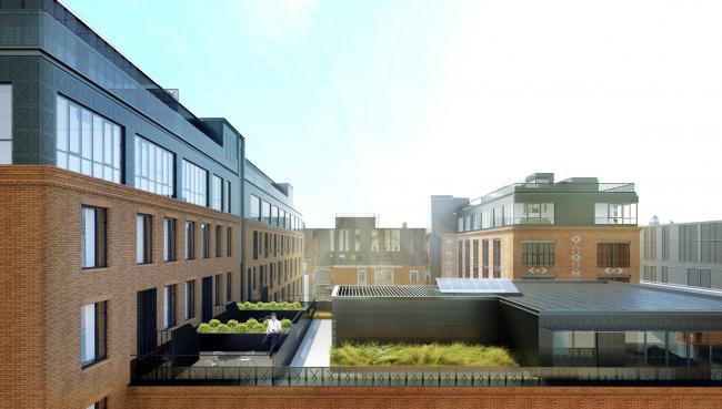 Комплекс апартаментов «Большевик», озелененная кровля © IND Architects
