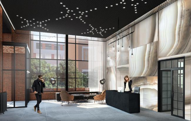 Комплекс апартаментов «Большевик», интерьер холла © IND Architects