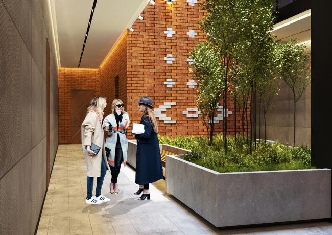 Комплекс апартаментов «Большевик», фрагмент интерьера общественных зон © IND Architects