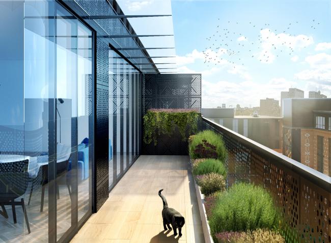 Комплекс апартаментов «Большевик», обустройство балкона © IND Architects