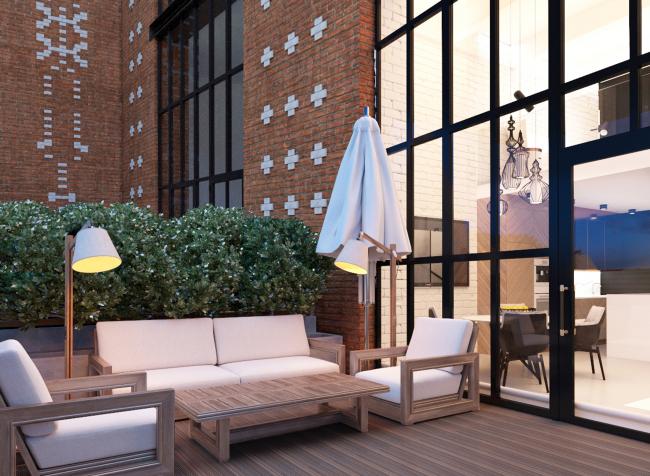 Комплекс апартаментов «Большевик», обустройство террасы © IND Architects