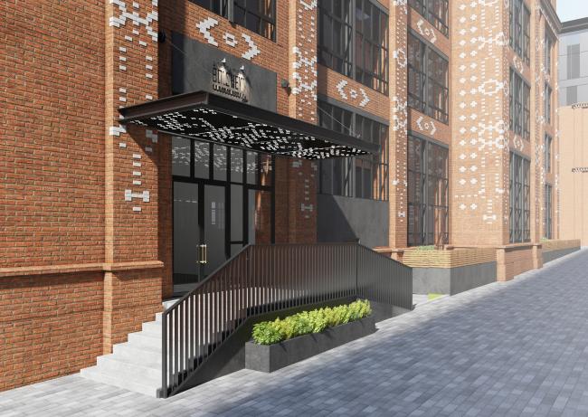 Комплекс апартаментов «Большевик», входная группа © IND Architects