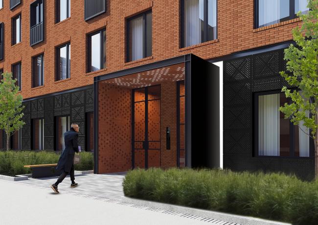 """Bolshevik"" apartment housing complex, entrance group © IND Architects"