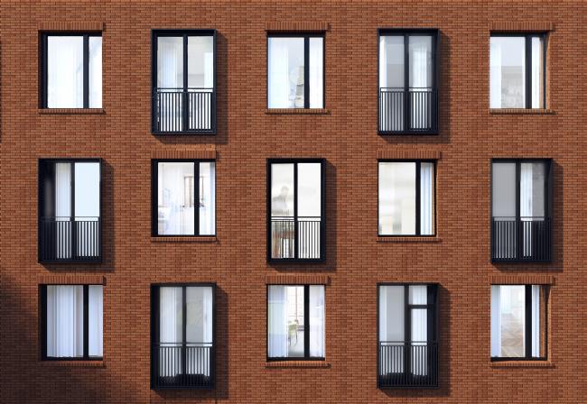 Комплекс апартаментов «Большевик», фрагмент фасада © IND Architects