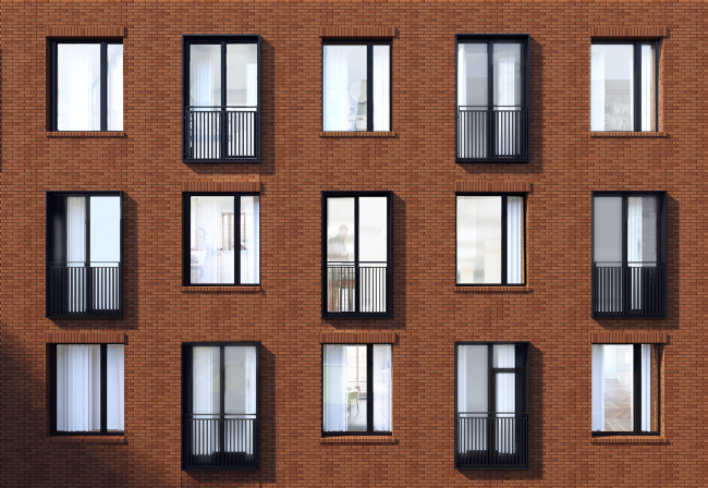 """Bolshevik"" apartment housing complex, facade fragment © IND Architects"