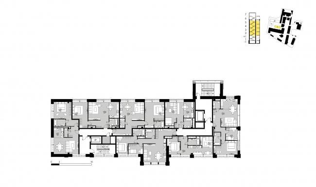 Комплекс апартаментов «Большевик», план этажа корпуса 9 © IND Architects