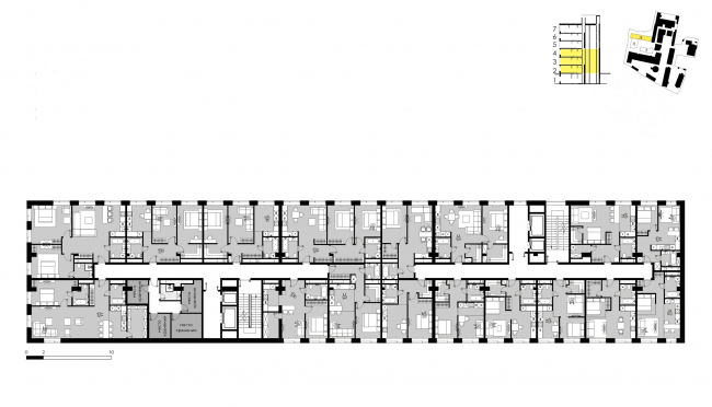 """""""Bolshevik"""" apartment housing complex, plan of the floor of Building 28 © IND Architects"""
