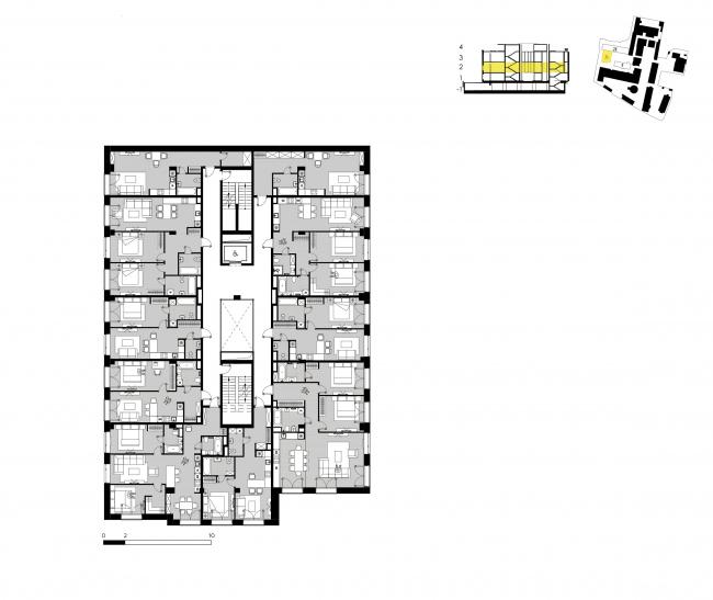 Комплекс апартаментов «Большевик», план этажа корпуса 35 © IND Architects