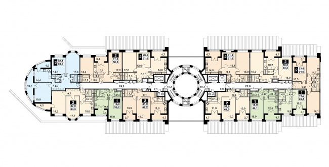 "UP-quarter ""Rimsky"". Section 13, plan of the 3 floor. Project © Mikhail Filippov Architects"