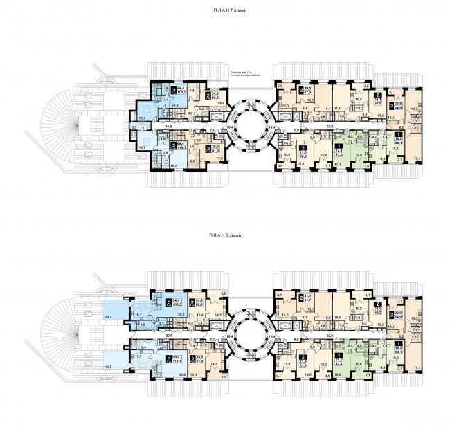 UP-квартал «Римский». Секция 13, план 6-7 этажей. Проект © Мастерская Михаила Филиппова