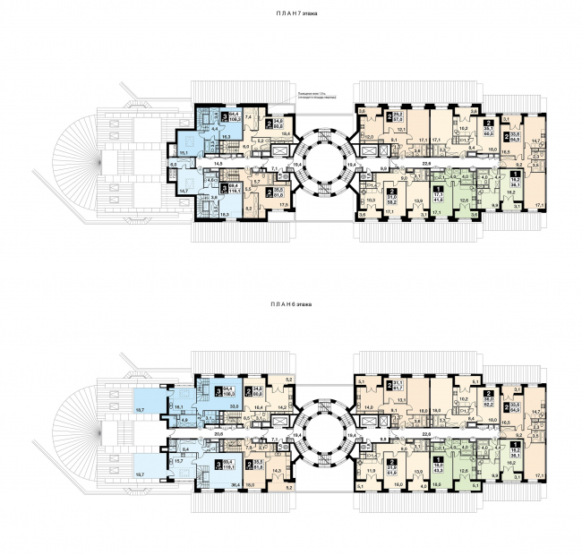 "UP-quarter ""Rimsky"". Section 13, plan of the 6-7 floors. Project © Mikhail Filippov Architects"