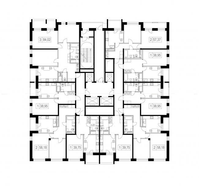 ЖК «Малевич». План этажа © Архитектурное Бюро ОСА
