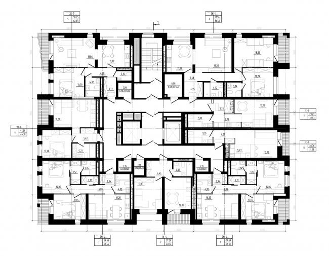 ЖК «Квартал 746». План этажа © Архитектурное Бюро ОСА