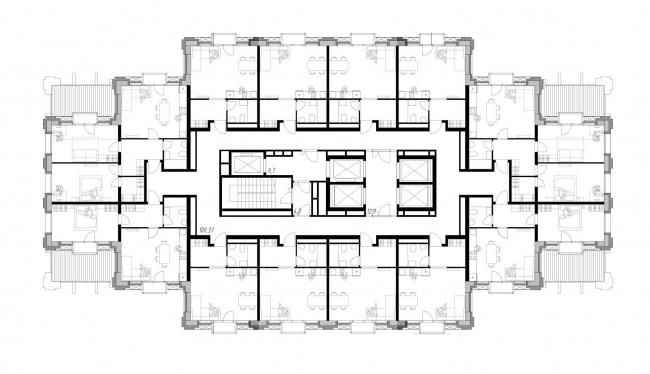 Апарт-отель бизнес класса «Эверест». План 7-8 этажа © Архитектурное Бюро ОСА