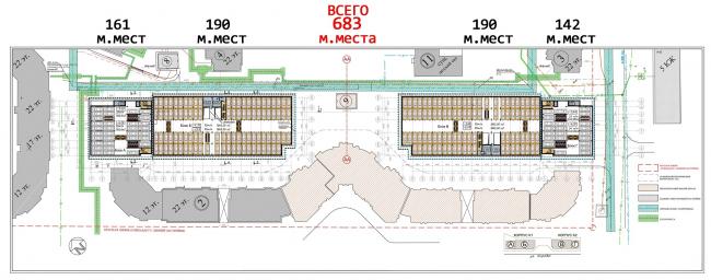 План подземной части автостоянки © Архитектурное бюро «Богачкин и Богачкин»