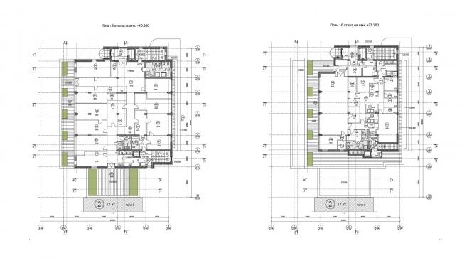 Планы этажей, Блок А © Архитектурное бюро «Богачкин и Богачкин»