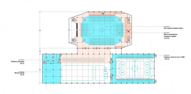 РМК арена. Третий этаж на отметке +7,800 © Архитектурное Бюро ОСА