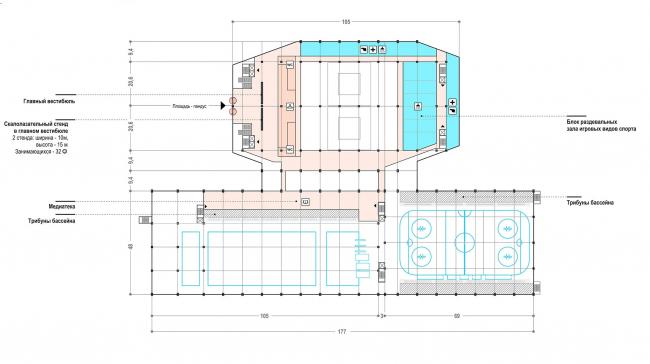 РМК арена. Второй этаж на отм. +3,000 © Архитектурное Бюро ОСА