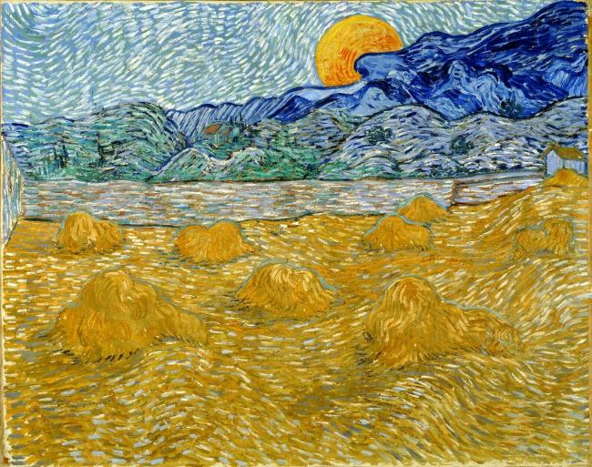 Винсент Ван Гог. «Пейзаж со стогами и восходящей луной». 1889. Музей Крёллер-Мюллер (Оттерло).