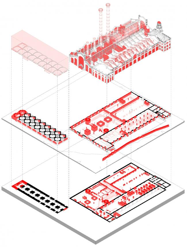 Схема демонтируемых и сохраняемых элементов здания © Проектное бюро АПЕКС