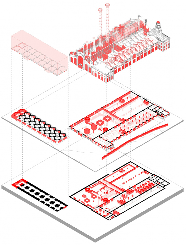 The diagram of dismantled and preserved elements of the building © APEX project bureau