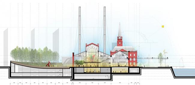 Схема поперечного разреза © Renzo Piano Building Workshop