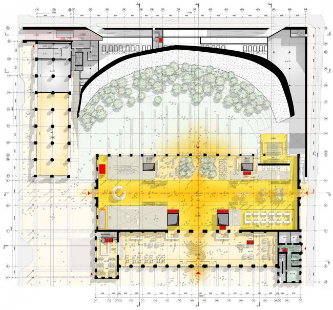 Схема плана 1 этажа © Renzo Piano Building Workshop