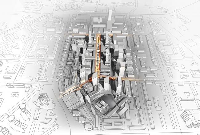 Мельковские кварталы. Три луча © Архитектурное Бюро ОСА