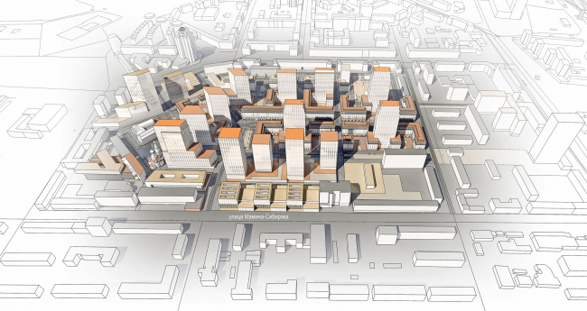 Мельковские кварталы. Новый масштаб улицы Мамина-Сибиряка © Архитектурное Бюро ОСА