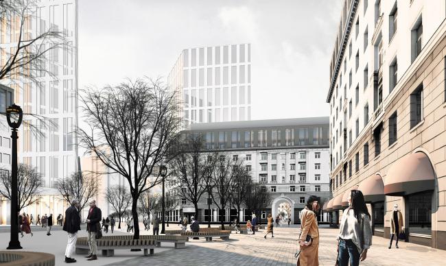 Мельковские кварталы. Сквер перед пассажем © Архитектурное Бюро ОСА