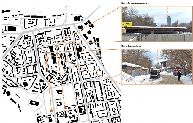 Мельковские кварталы. Архитектурные характеристики застройки. Визуальные оси внутри квартала © Архитектурное Бюро ОСА