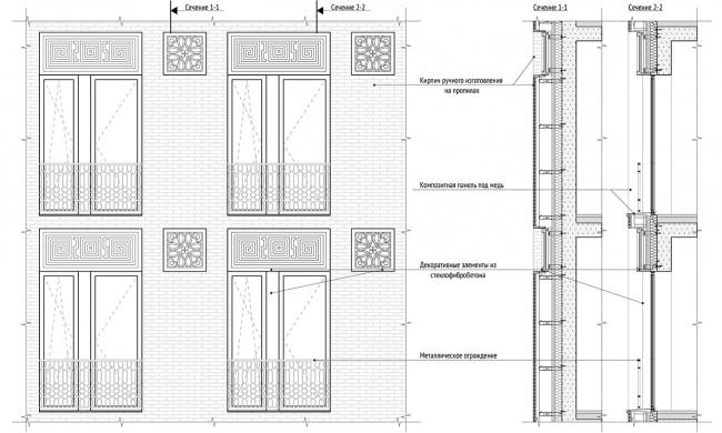 Сечение фасада © Проектное бюро АПЕКС